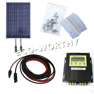 100Watt Solar Panel Kits W/ MPPT Charger Controller for Home Camping 12V Battery