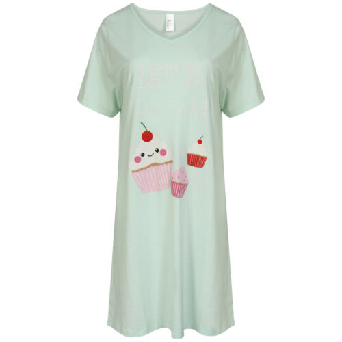 Ladies Cotton Short Sleeve Nightshirt Pink Grey or Mint Sizes 10-12
