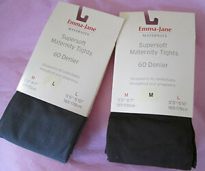 Emma-Jane-Maternity-60-Denier-Tights-Chocolate-Brown-amp-Mid-Grey-Sizes-Med-amp-Larg