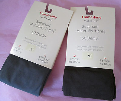 Emma Jane Maternity 60 Denier Tights Chocolate Brown & Mid Grey Sizes Med & Larg GroßEr Ausverkauf