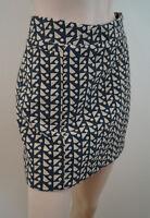 Hoss Intropia Grey & Cream Geometric Print Short Mini Skirt Sz:36; Uk8