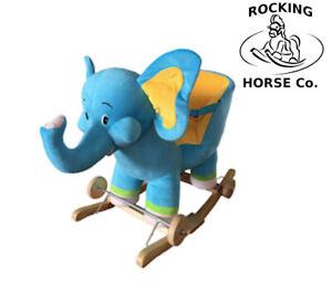 Nuevo-Peluche-Elefante-Balancin-Silla-en-el-Madera-Rockers-con-Ruedas-Sonido