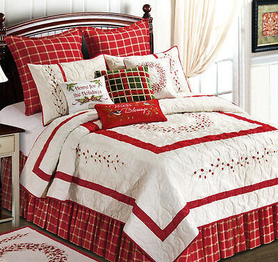 RED BERRY EMBROIDERED ** King ** QUILT SET : GARDEN CHRISTMAS WREATH COMFORTER