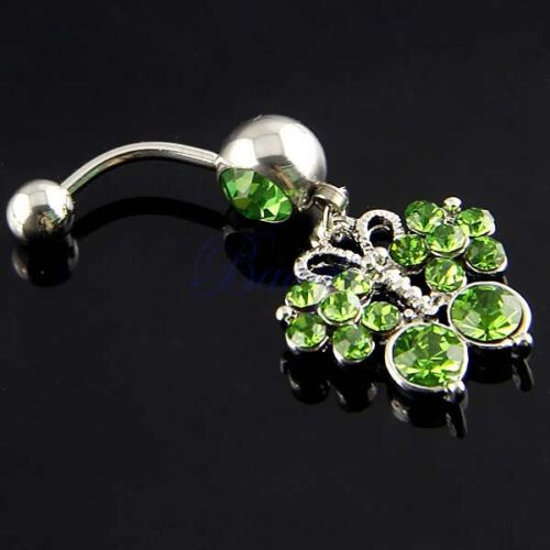 Green Crystal Jeweled Butterfly Dangle Belly Ring Navel Button JW534 MA