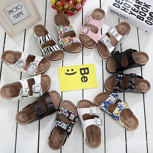 HOT-Women-039-s-Slide-Buckle-T-Strap-Cork-Footbed-Platform-Flip-Flop-Shoes-Sandals