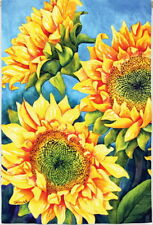 NEW LARGE EVERGREEN FLAG FLORAL SUNFLOWERS TRIO - GORGEOUS FLAG  29 X 43