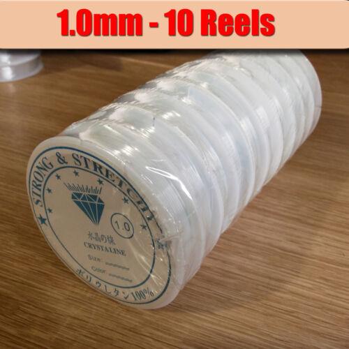 10 Carretes Hilo Elástico Elástico 1.0mm fuerte y elástica claro abalorios Cable