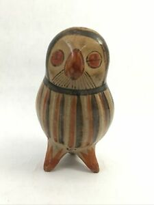 Hand-Painted-Mexican-Owl-Figurine-Signed-Solis-Vintage-Folk-Art-Pottery