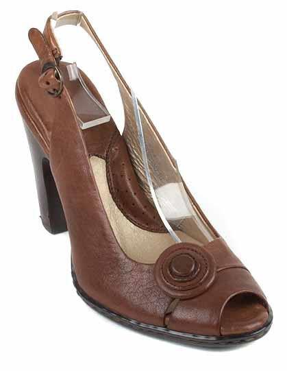 migliore offerta New New New BORN donna Marrone Leather High Heel Peep Toe Slingback Sandal scarpe Sz 8.5 M  risparmiare fino all'80%