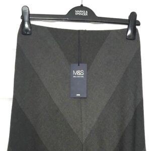 M-amp-S-Marks-s8-Ladies-Dark-Grey-Chevron-Panel-Aline-Midi-Pull-On-Lined-Skirt-BNWT