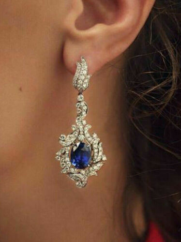 Details about  /2.80Ct Oval Sapphire /& Diamond Dangler Earrings in 14K  White Gold Finish