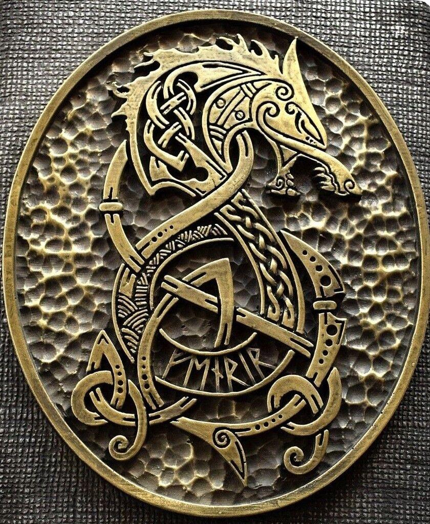 Viking Norse pagano lobo Fenrir Hierro Escultura de latón Decoración de Parojo Colgante Hogar Arte