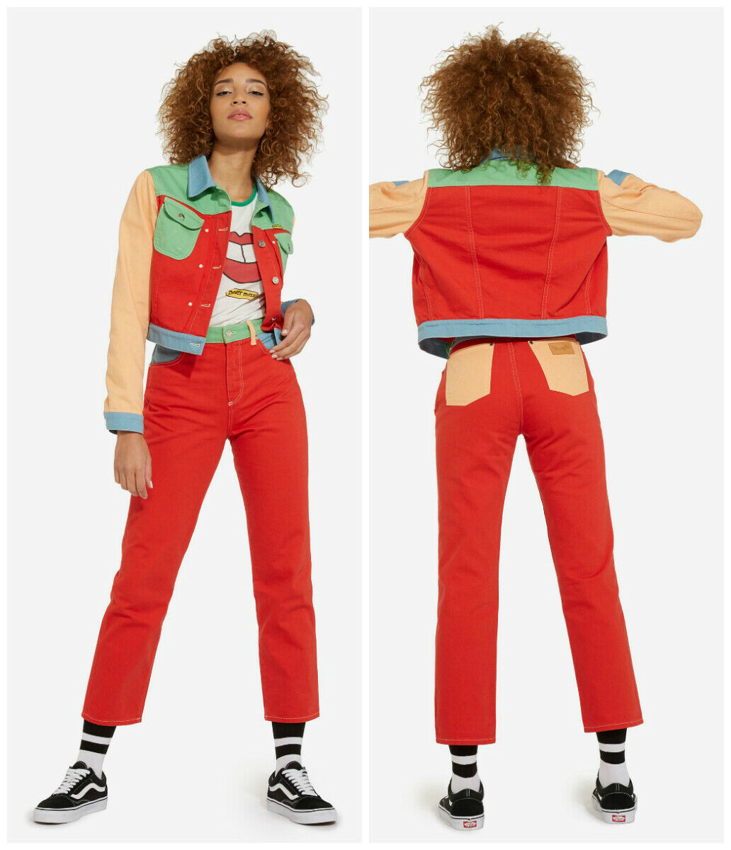 NEW WRANGLER X PETER MAX RED  STRAIGHT JEANS BOYFRIEND CROP MOM MID ANKLE