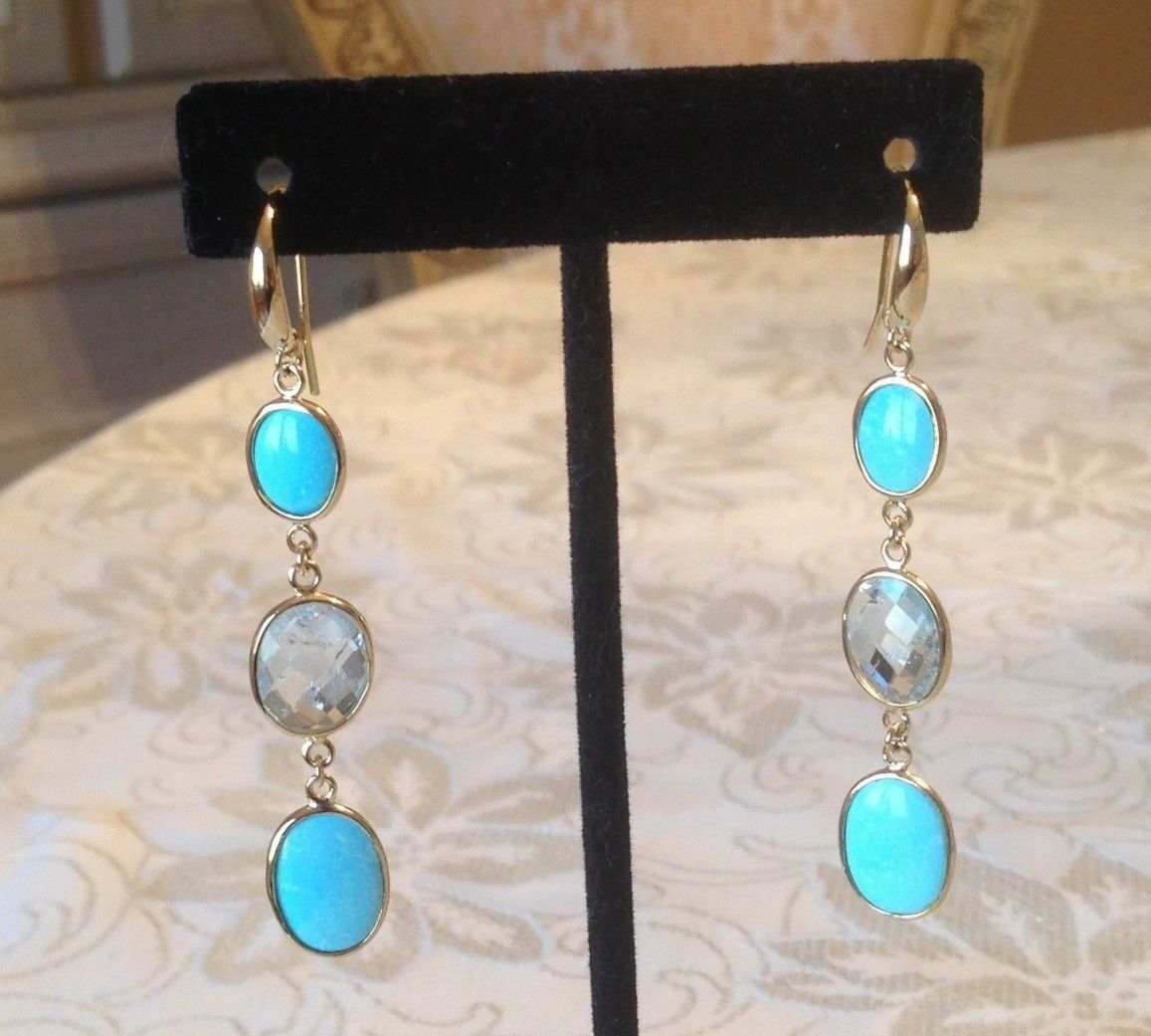 gold Vermeil on Sterling Faceted bluee Topaz & Sleeping Beauty Turquoise Earrings