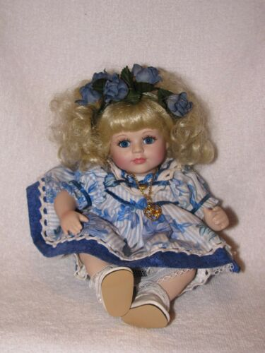 "9"" Marie Osmond Precious Tiny Tots Porcelain Doll 1999 With Blonde Curly Hair"