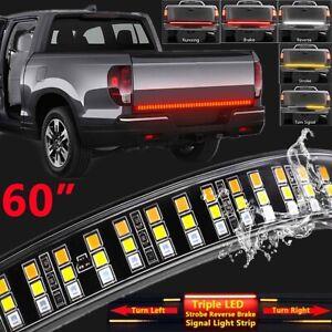 New!150cm 12v Triple Row 5-function Truck Tailgate Led Strip Light Bar Waterproof Turn Signal/brake/reverse Lamp Lights Car Light Assembly Car Lights