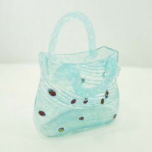 Murano-Style-Hand-Blown-Art-Glass-Purse-Hand-Bag-Blue-Swirl-With-Handles-8-034-Tall