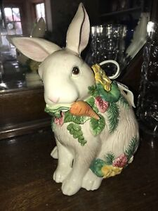 Vtg Fitz & Floyd Herb Garden Bunny Rabbit Cookie Jar is SPRING PERFECTION! RARE!