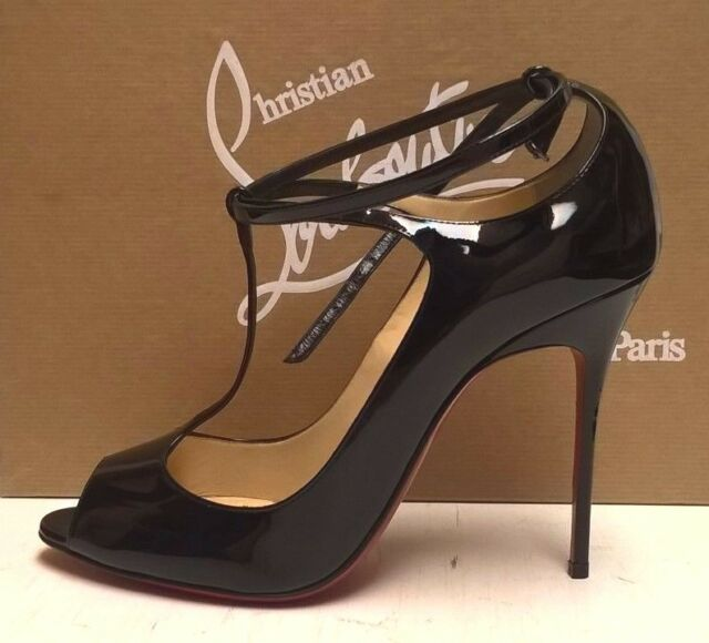 7dec68efa1d Frequently bought together. Christian Louboutin Talitha 100 Black Patent  Peep-Toe Pumps Stiletto Heels 40