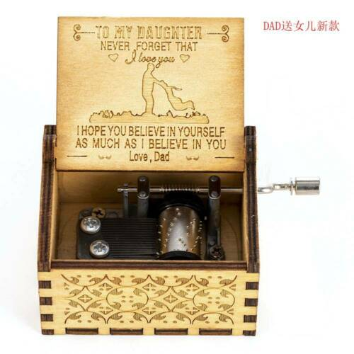 Retro Wooden Music Box Antique Hand Crank Engraved Toys Kids Birthday Gifts US