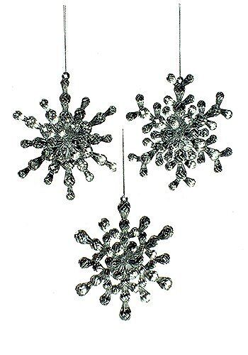"""Set of 3  NWT RAZ  4-3//4/""""  Clear Faceted Briolette Snowflake CHRISTMAS ORNAMENTS"""