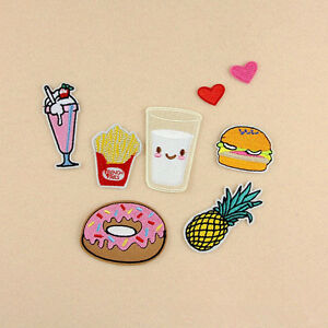 8Pcs-Set-Embroidery-Donuts-Pineapple-Food-Sew-Iron-On-Patches-Clothes-Appliques