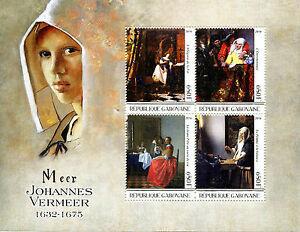 Gabon-2016-MNH-Johannes-Vermeer-4v-M-S-Art-Paintings-Stamps