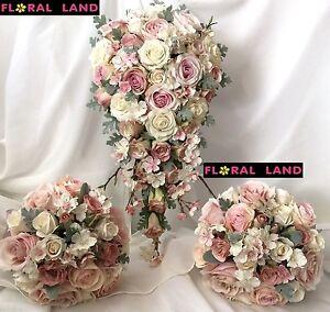 Silk Wedding Bouquet Pale Pink Purple Teardrop Bouquets Blossom Rose