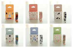 Animal cat whale panda Adhesive Sticker paper Masking Washi Tape 15mmX10M