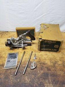 Vintage Stanley No 45 Combination Woodworking Plane with Cutters Box Unused