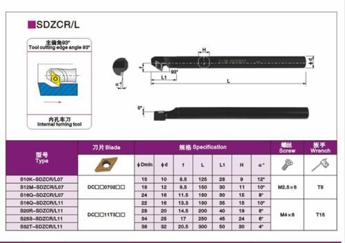 S12M-SDZCL07 Lathe Turning Tool Boring Bar Holder for DCM70702**
