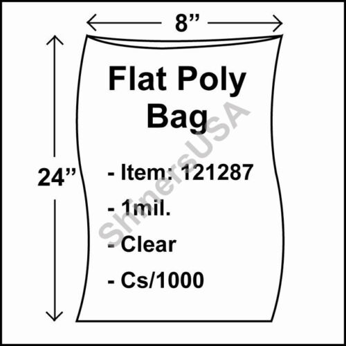 1000 1-Mil 8x24 Clear Poly Bag Open Top Lay Flat Long Packaging 121287