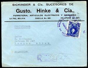 BOLIVIA-TO-ARGENTINA-JUDAICA-Registered-Cover-1940-VF