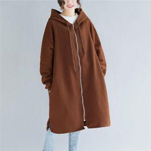 manteau manches à cardigan femme capuche Ne zippé Sweat Sweat longues trench doublé à qH8wt