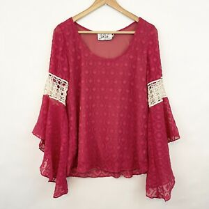 VAVA Joy Han Boho Chic Bell Sleeve Lace Crochet Pink Blouse Top M Medium Womens