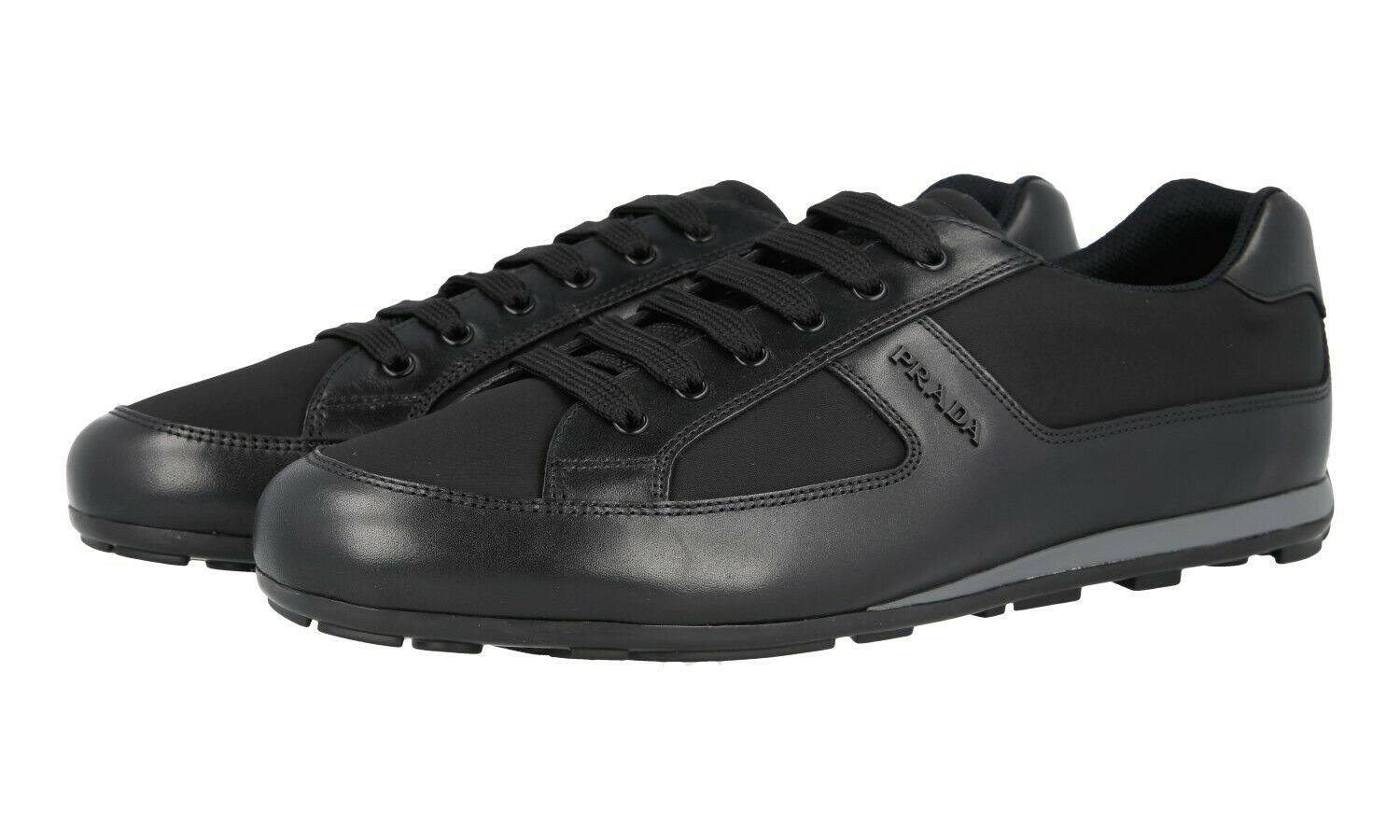 AUTH PRADA TRAINERS SHOES 4E3231 BLACK LEATHER + NYLON NEW 9,5 43,5 44