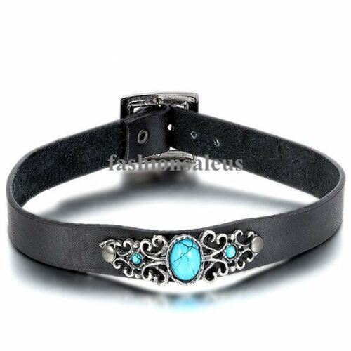Punk Biker Gothic Black Leather Choker Faux Turquoise Buckle Collar Necklace New