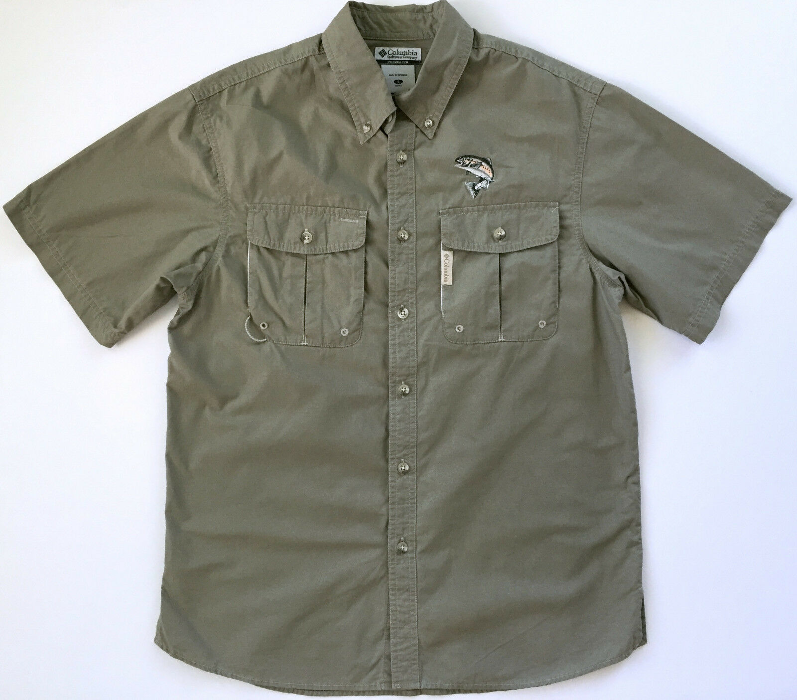 COLUMBIA PFG Performance Mens Short Sleeve Beige Green Vented Fishing Shirt Sz S