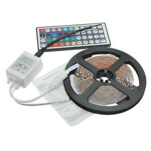 RGB-LED-tira-de-control-remoto-de-44-teclas-5M-3528-300-SMD-banda-barra-12V-D9Y2