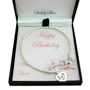 Silver Beads Bracelet With 21 Charm 21st Birthday Gift For Sister