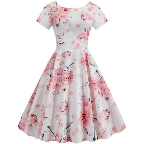 Ladies Vintage Floral 50s 60s ROCKABILLY Swing Pinup Housewife Retro Dress Party