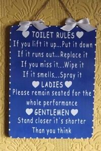Handcrafted Wooden Bathroom Sign TOILET RULES LADIESGENTLEMEN - Ladies bathroom sign