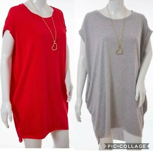 Italian-Oversized-Stretch-Cotton-T-Shirt-Dress-Lagenlook-Pocket-Curved-Tunic-Top