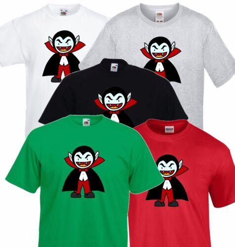Dracula Halloween Party T Shirt Costume Childrens Kids Evil Cartoon Vampire