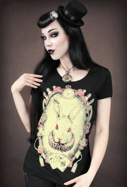 Restyle T-Shirt Mad White Bunny Rockabilly Hase Gothic Alice Steampunk XS-XXL