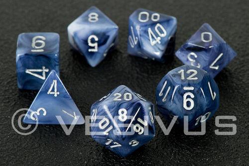DICE Chessex PHANTOM BLACK Cloudy Blue Dark Swirl d20 Set d10 d6 RPG Game 27488