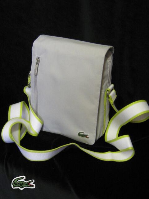 New Vintage LACOSTE Unisex MESSENGER Shoulder Bag Casual 2.4 Pearl Grey