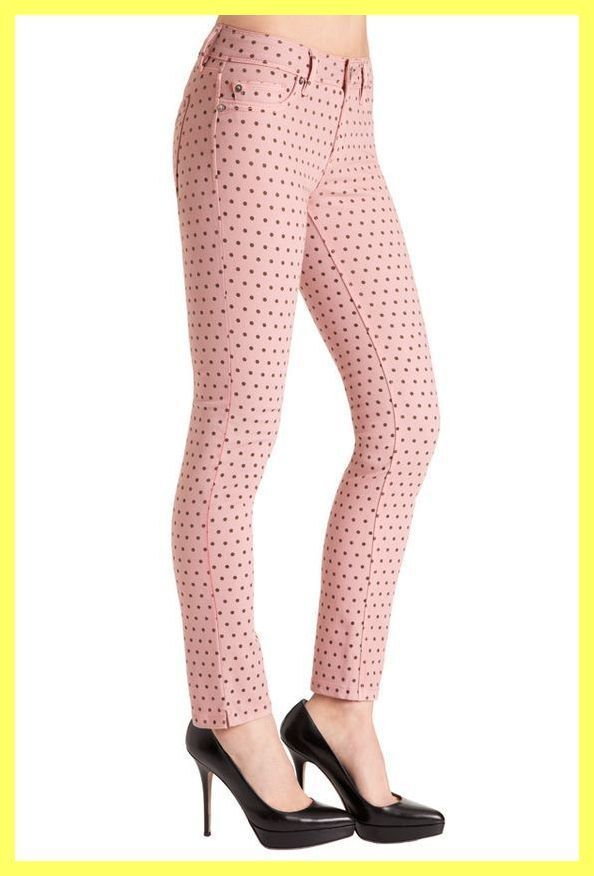 EUC DL1961 BUBBLE PINK ANGEL POLKA DOT MID RISE STRETCH SKINNY ANKLE JEANS 28