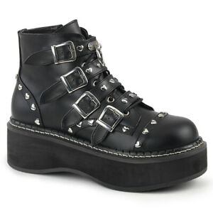 Demonia-EMILY-315-Black-2-034-Platform-Lace-Up-Front-Buckle-Strap-Ankle-Boot