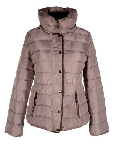 Giacca Donna Invernale Parka cappotto caldo rivestimento interno cappuccio 40 42 44 46 48 50 Beige